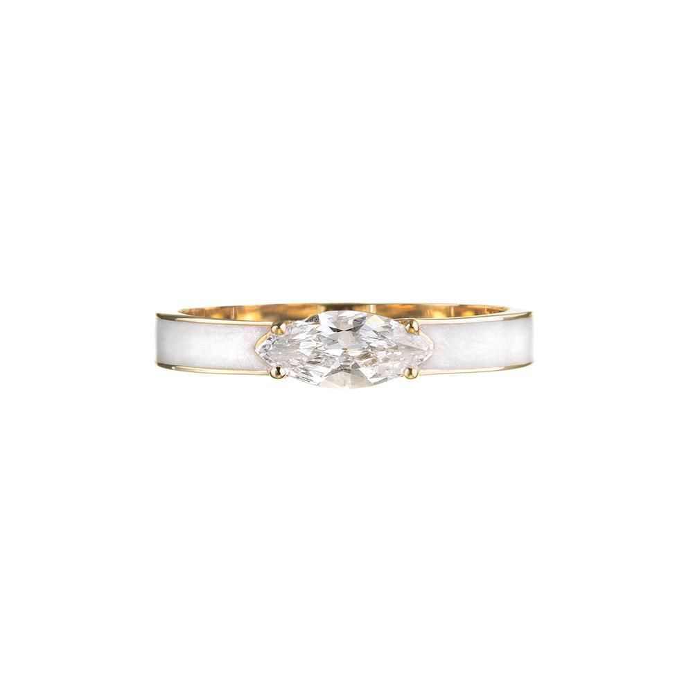 Enamel diamond engagement ring with yellow gold band on a white background.