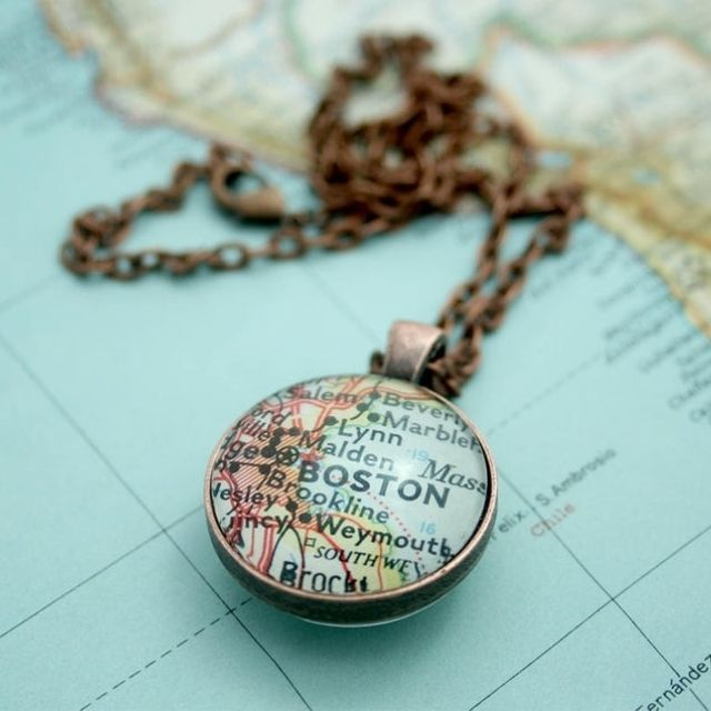 EvaGiftedHands Matching Map Necklace and Key Ring