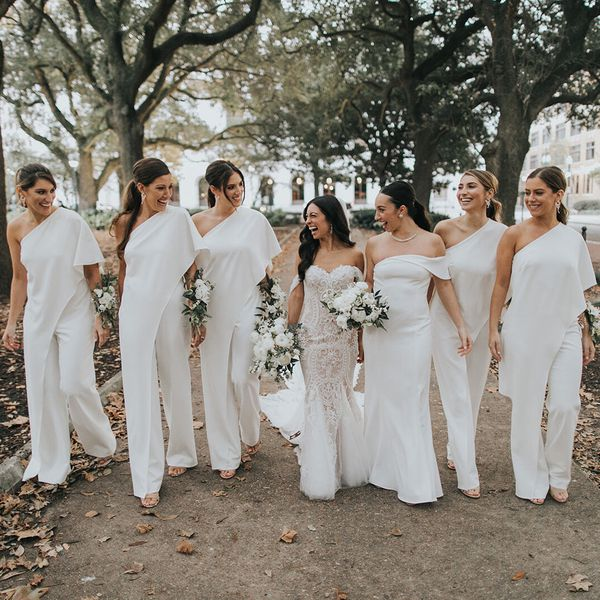 bride and bridesmaids in jumpsuits