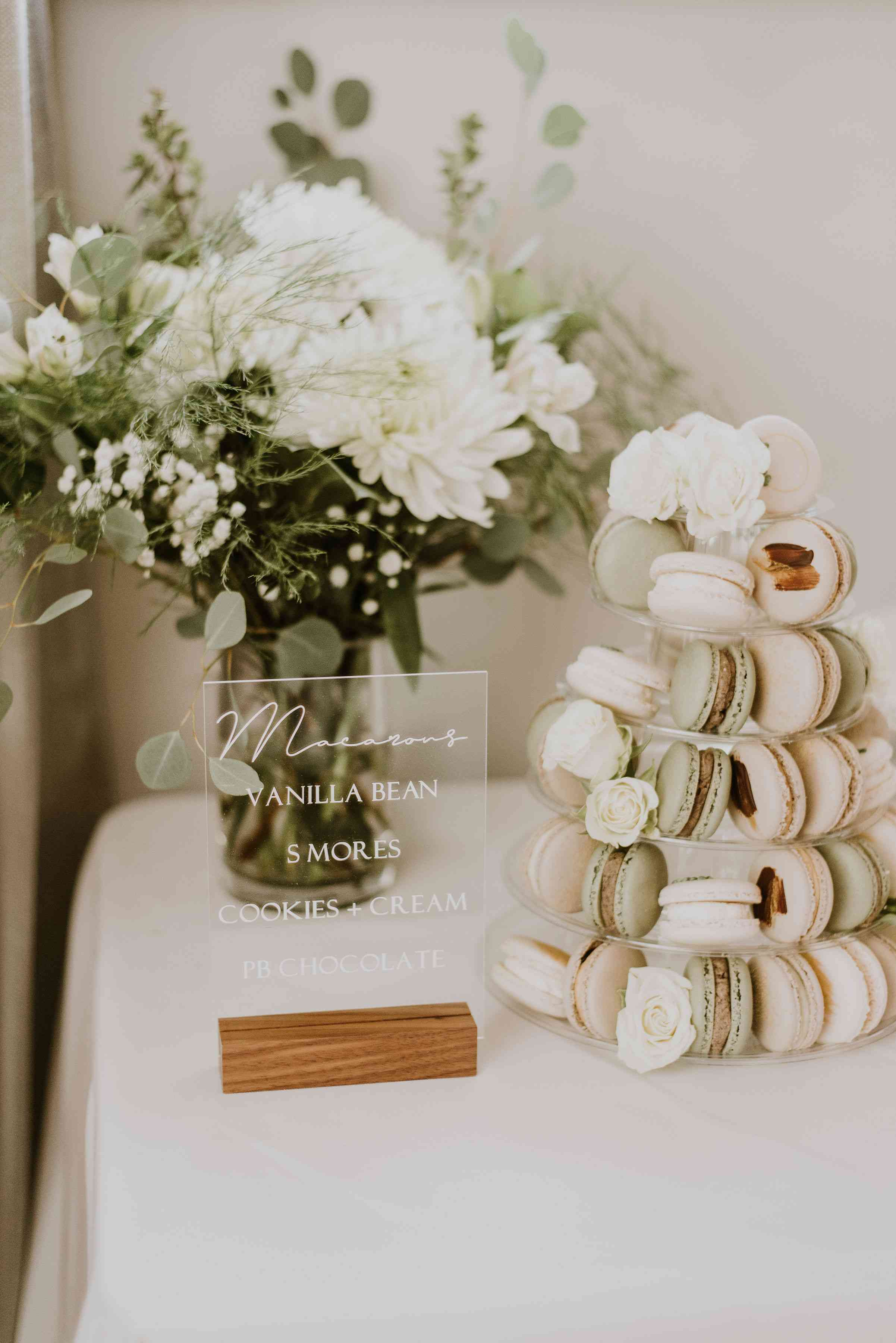 Macaron tower with acrylic sign