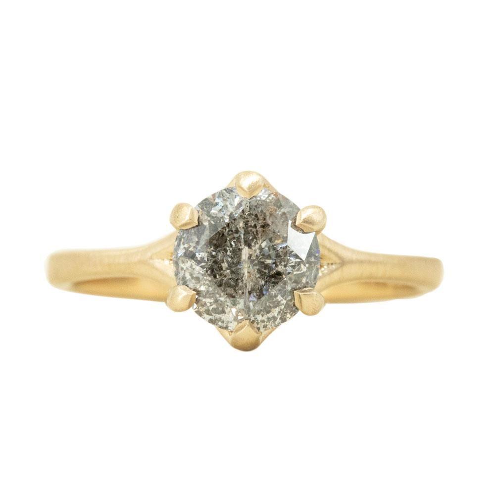 Anueva Jewelry 1.47ct Salt and Pepper Diamond Six Prong Split Shank Satin Finished Ring