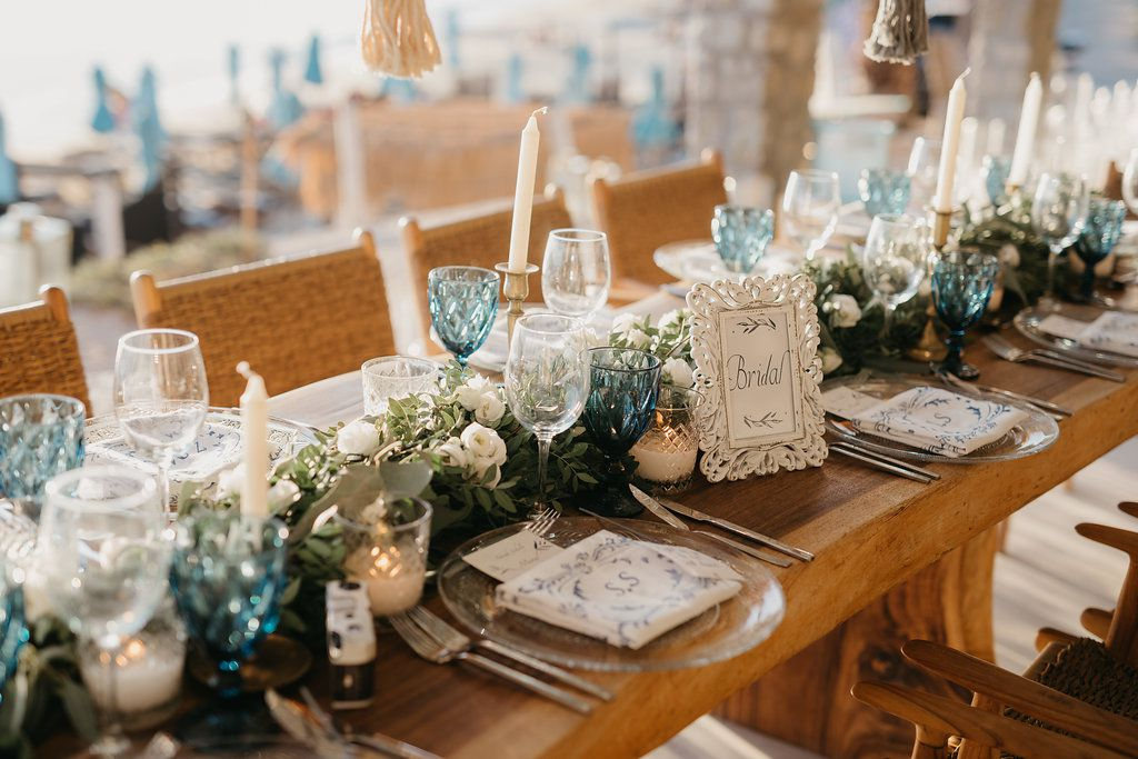 tablescape with blue accents and taper candles