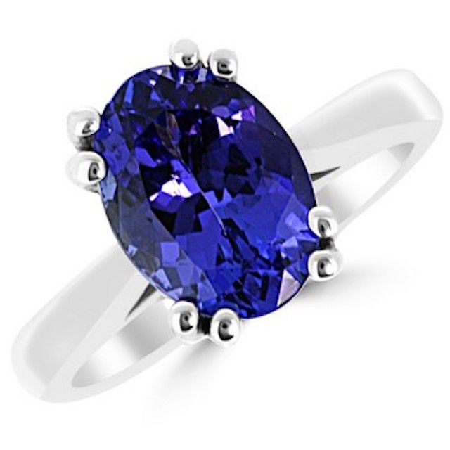 Oval Tanzanite Engagement Solitaire Ring