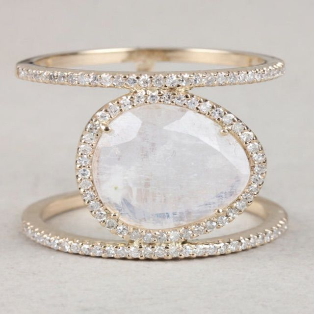AiraJoyas Solid 14k Yellow Gold Genuine Moonstone Double Band Ring Pave Diamond Gemstone