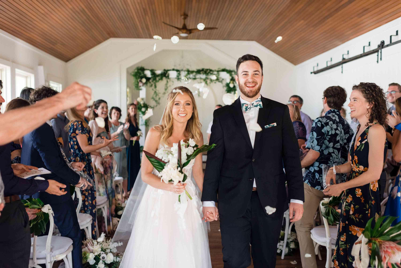 tropical maui wedding, bride groom recessional