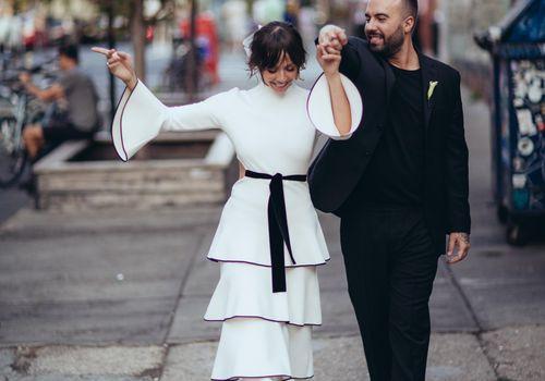 Newlyweds walking in Brooklyn