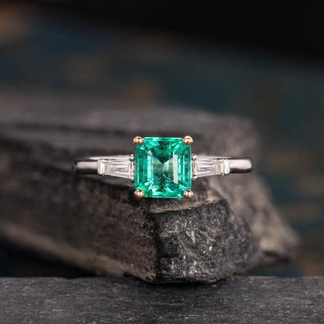 Natural Emerald Engagement Ring