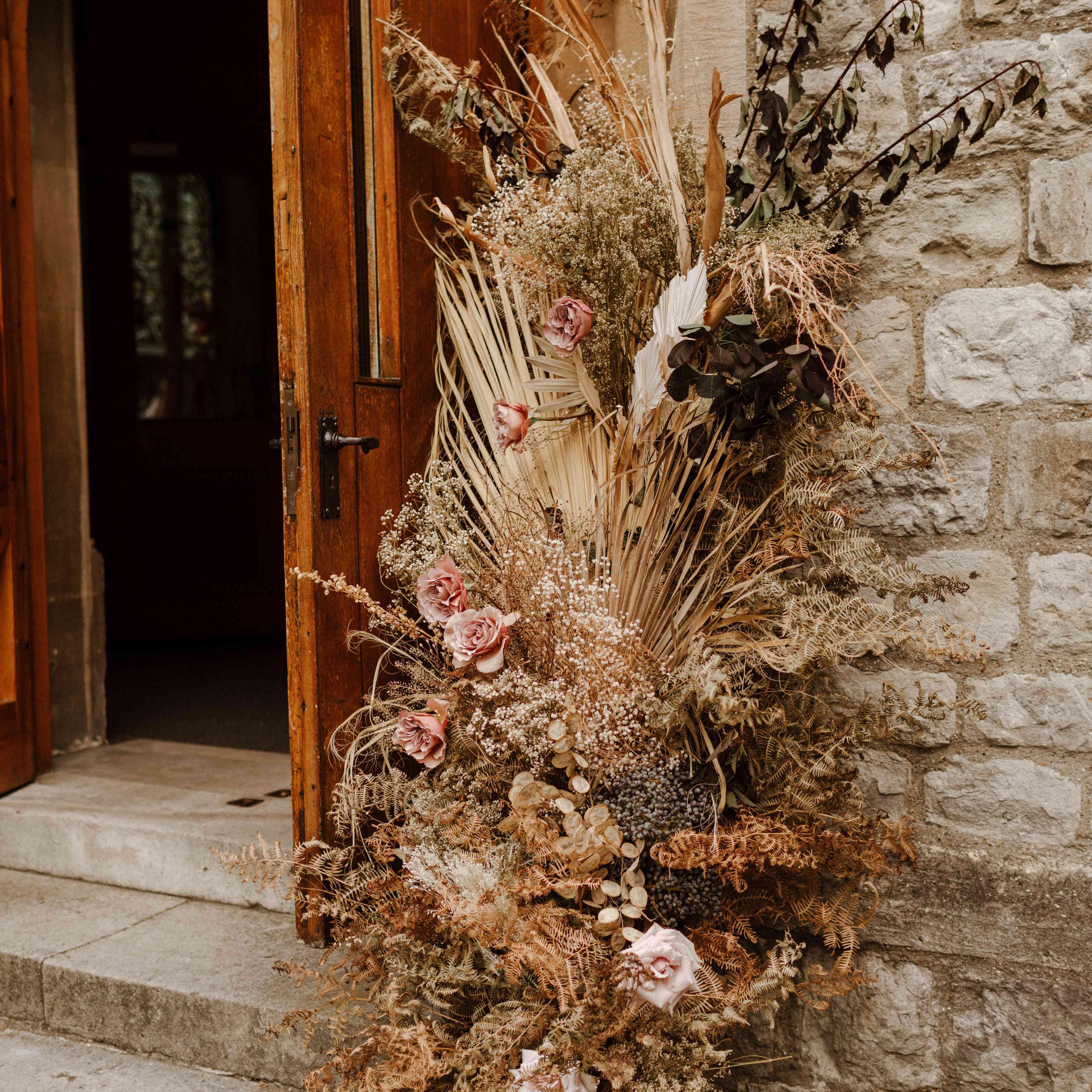 Dried florals at church door