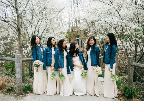 Bridal party wearing jean jackets