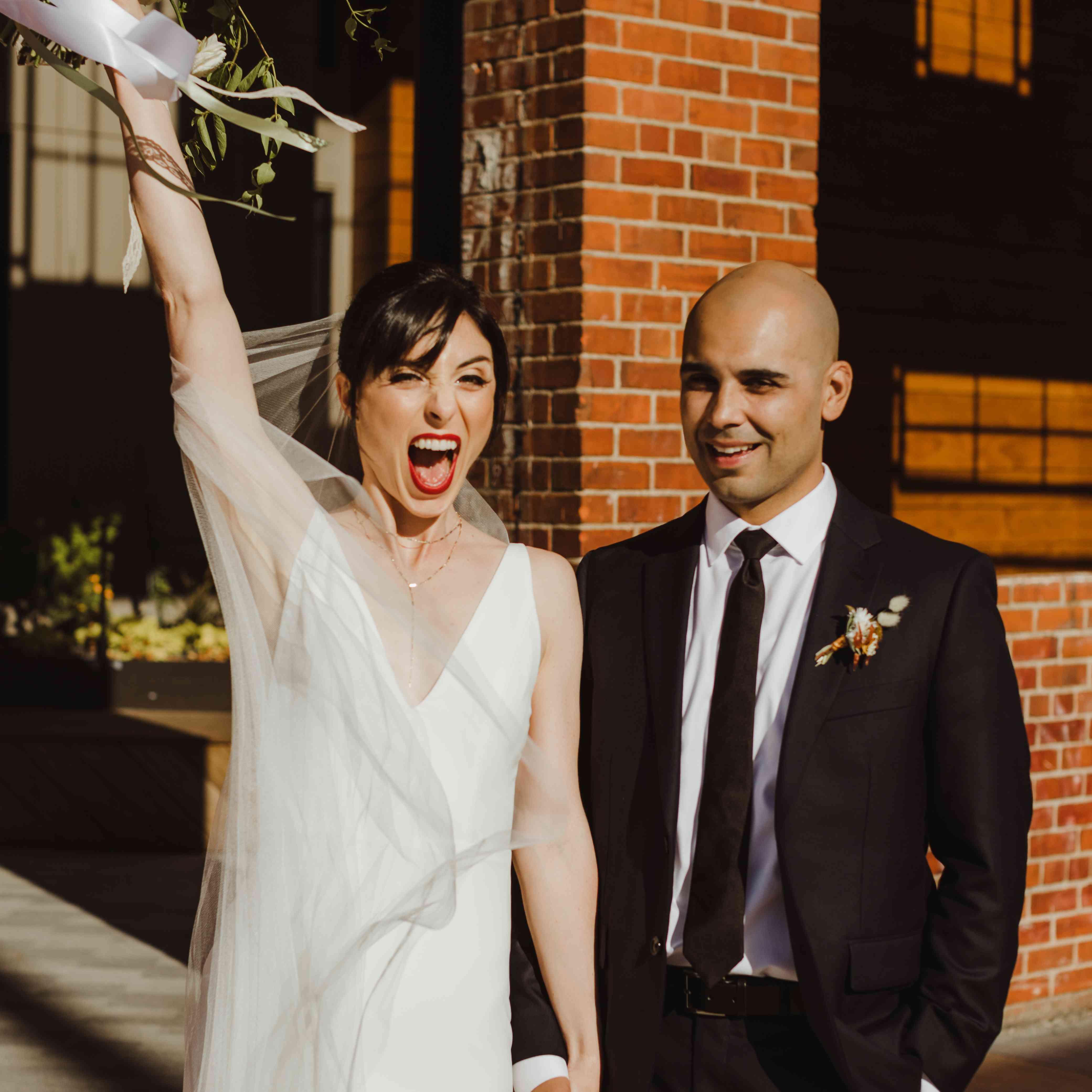 <p>ceremony exit excited bride</p><br><br>