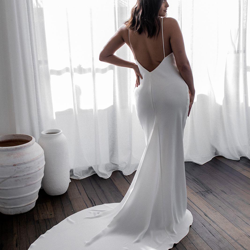 Summer spaghetti strap wedding dress