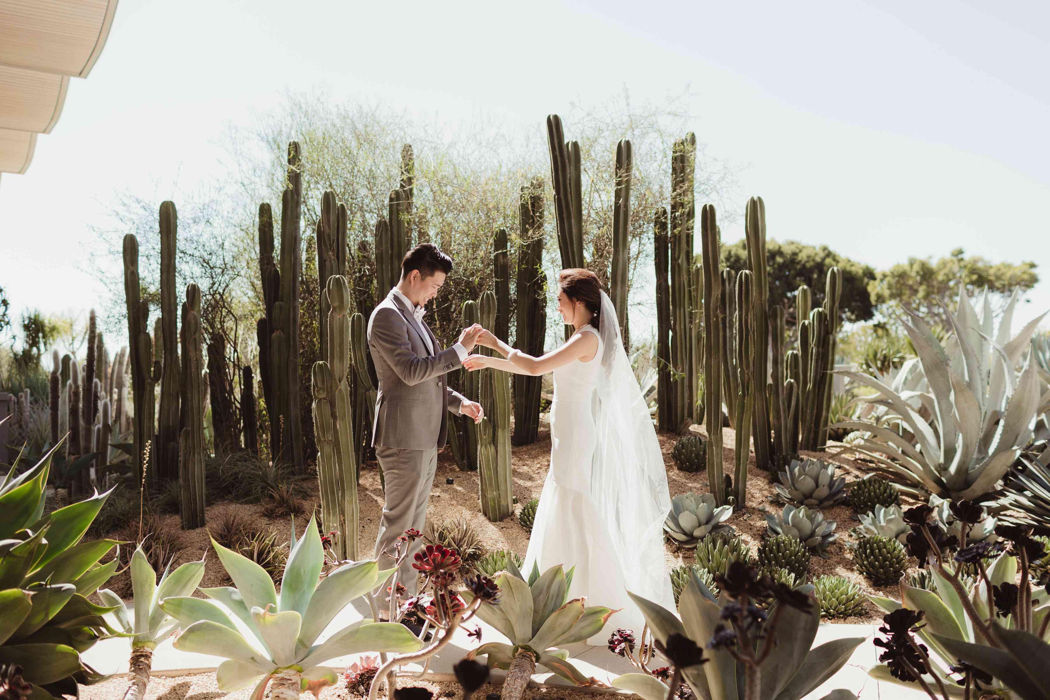 Bride and Groom Near Cactuses