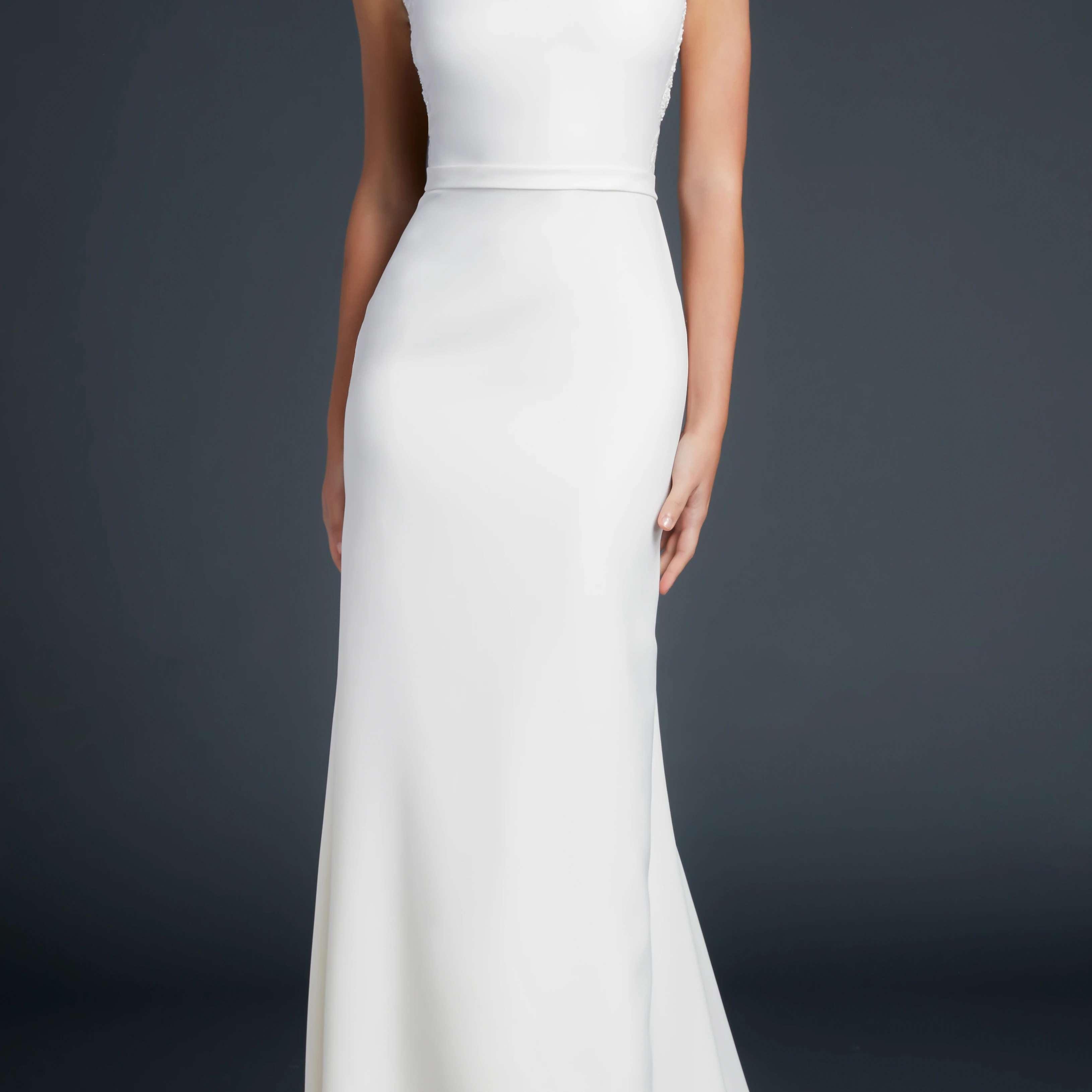 Bateau neckline stretch crepe gown