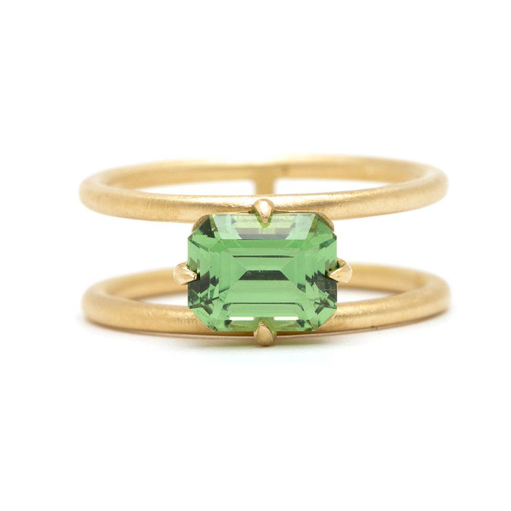 Sofia Kaman Double-Banded Green Garnet