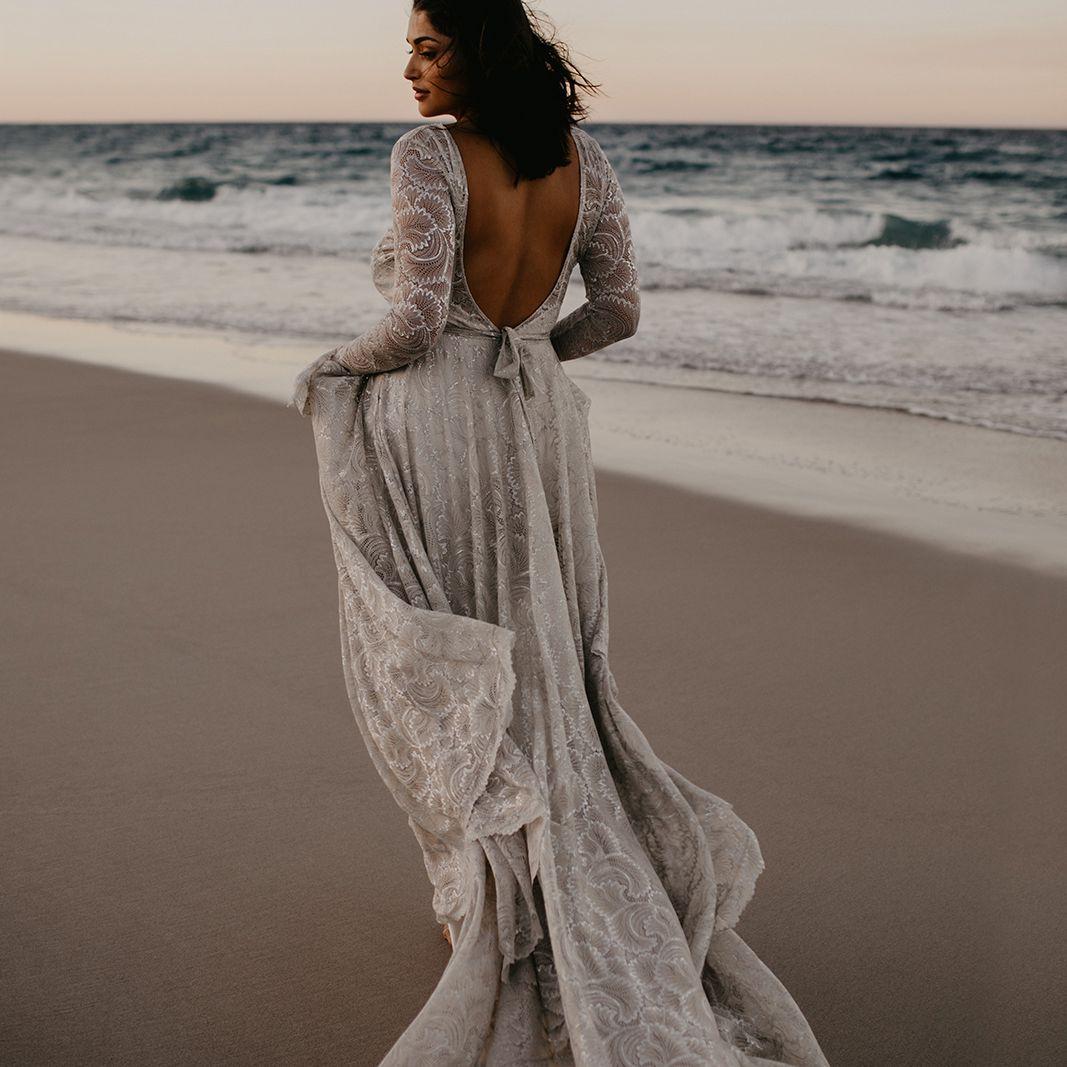 Bea champagne long sleeve embellished wedding dress