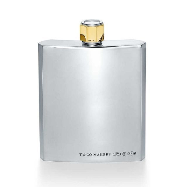 Tiffany & Co. Makers Flask in Sterling and Brass