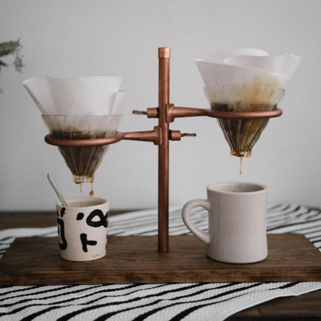 Madera Supply Company Double Pour Over Coffee Stand in Copper