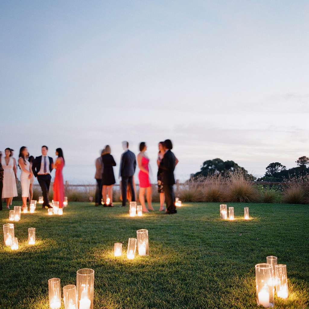 candles on lawn