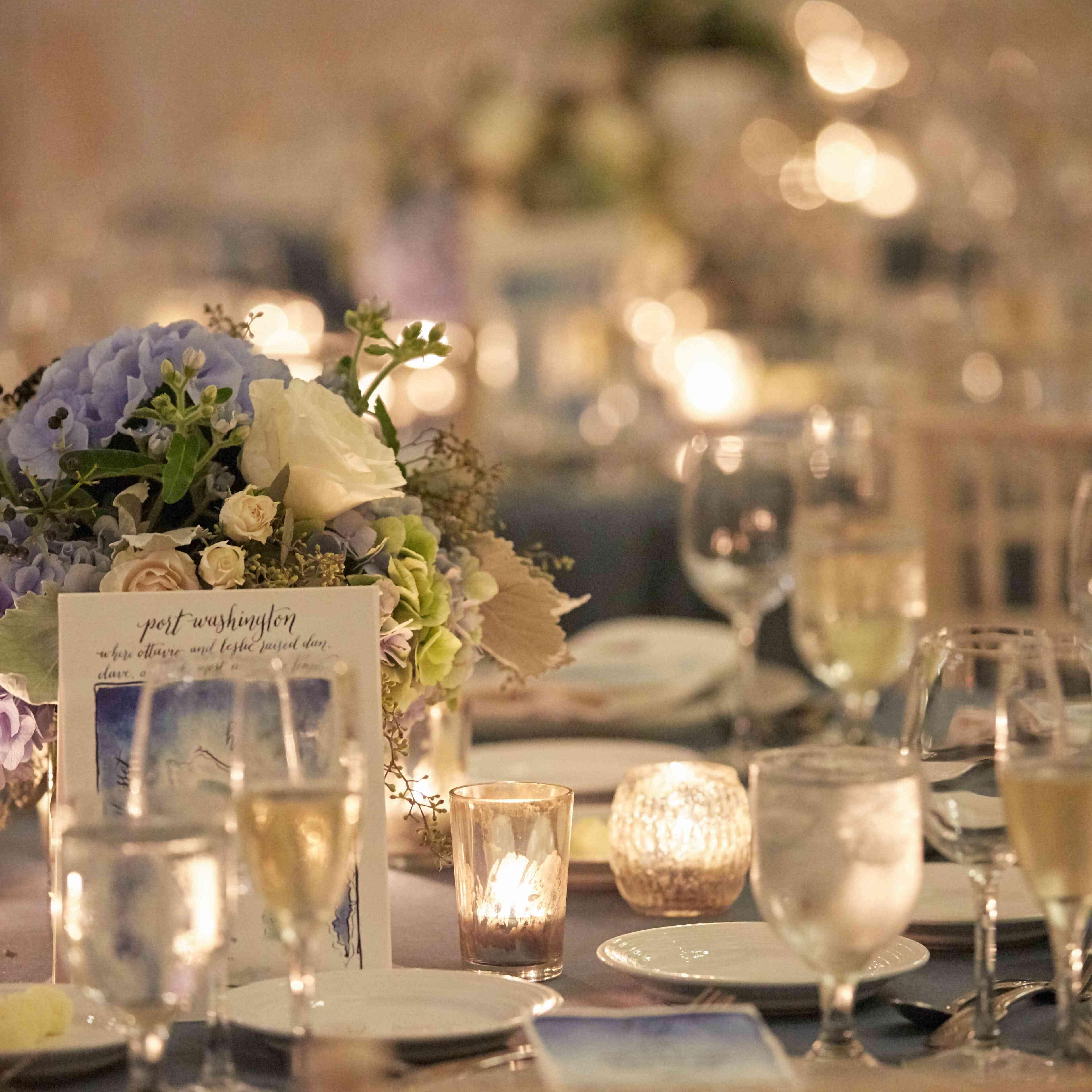 <p>Blue Reception Tables</p><br><br>