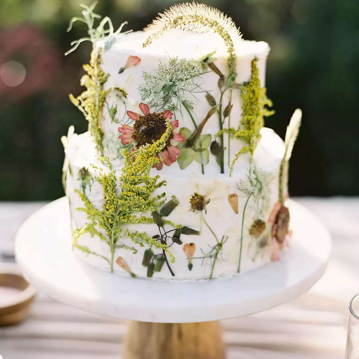 Cake with pressed flowers