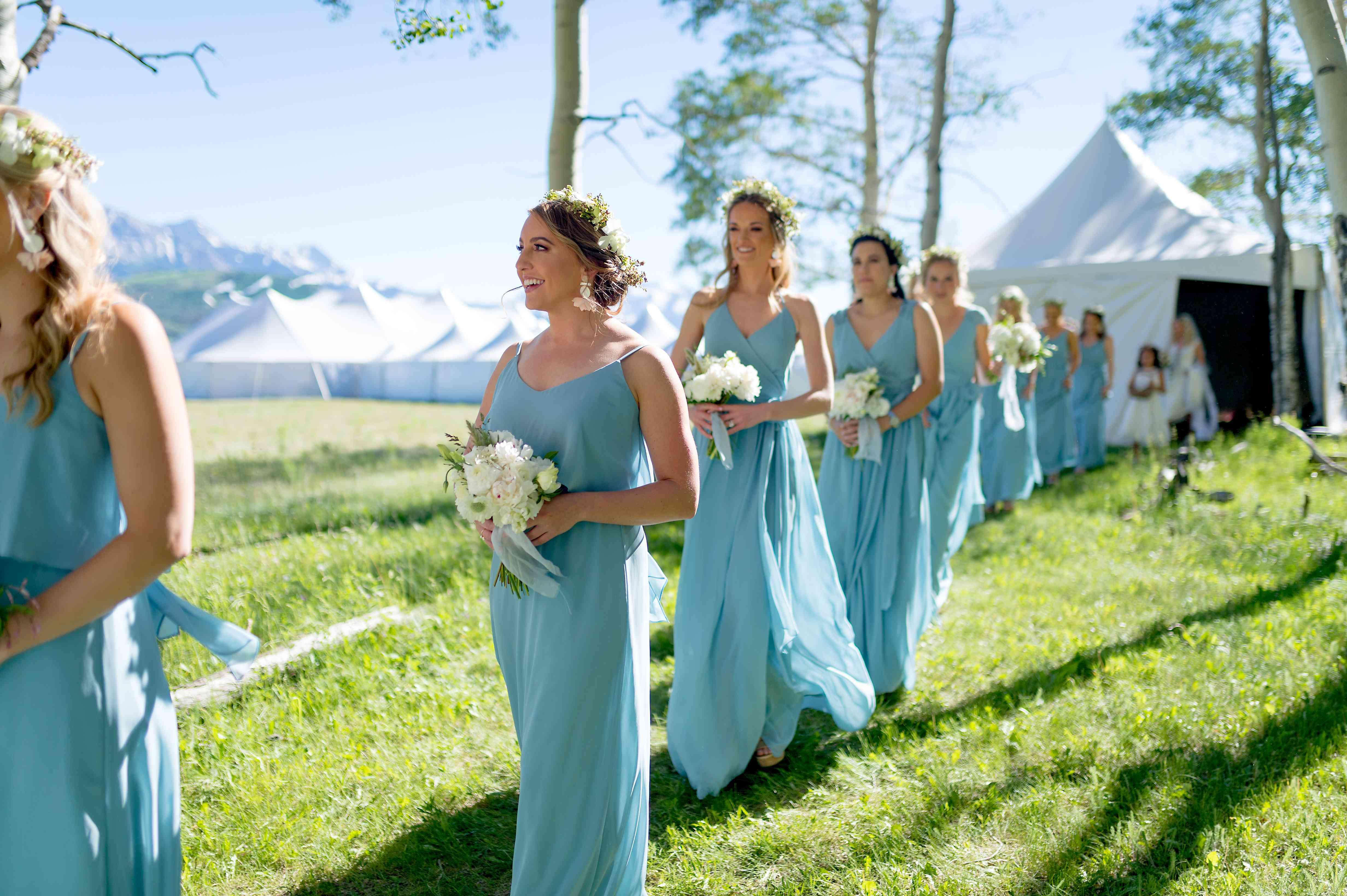 Bridesmaids walking toward ceremony