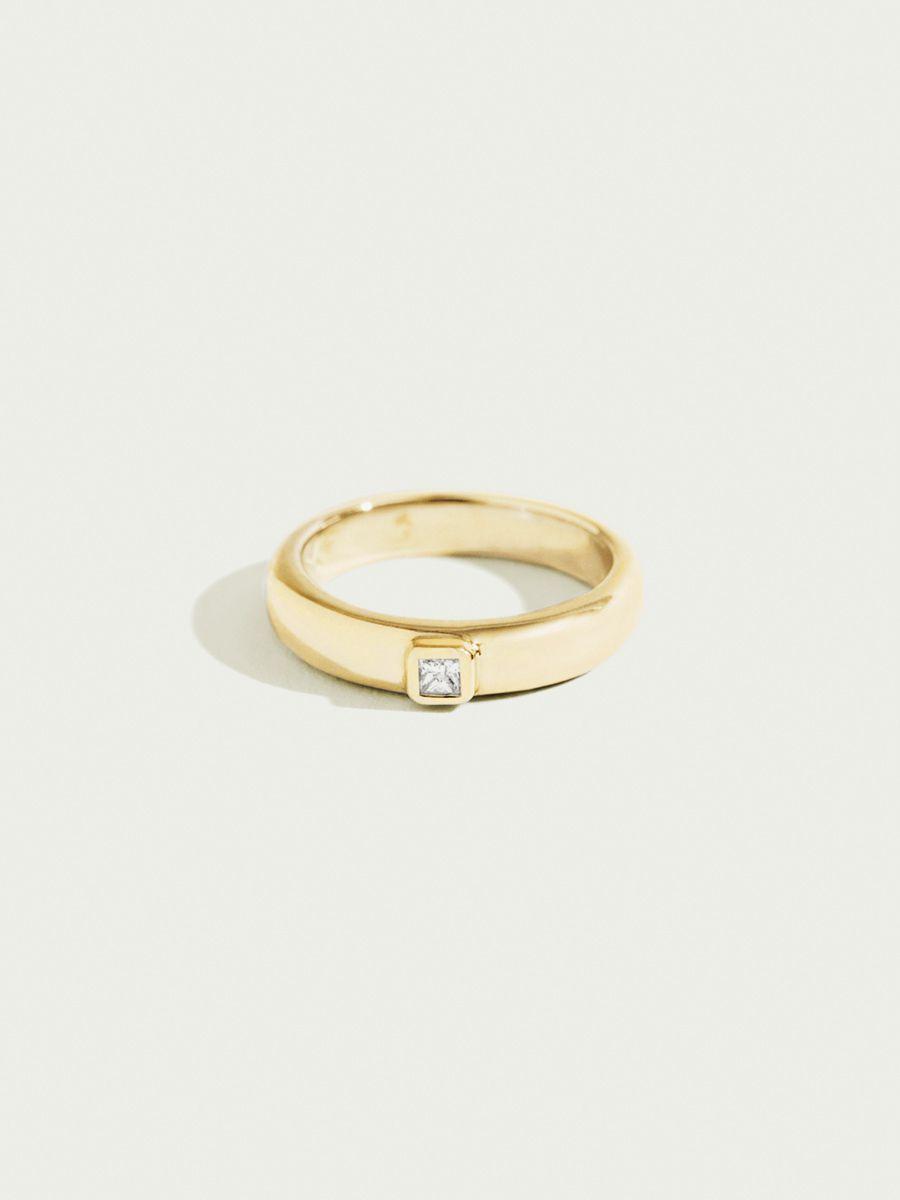 Single diamond simple engagement ring