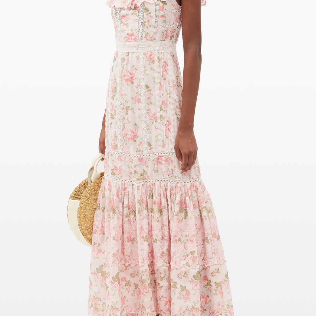 LoveShackFancy Niko Ruffled Lace-Insert Floral-Print Cotton Dress, $507, on sale $253