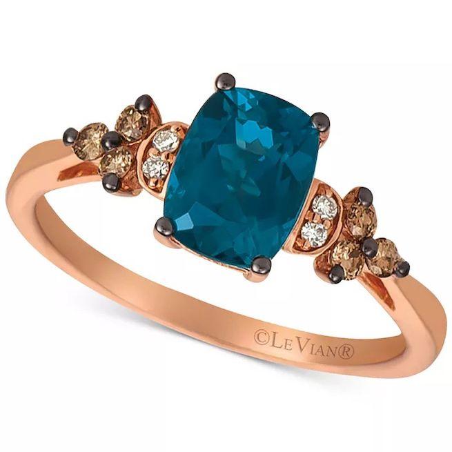Le Vian Deep Sea Blue Topaz & Vanilla and Chocolate Diamond Ring