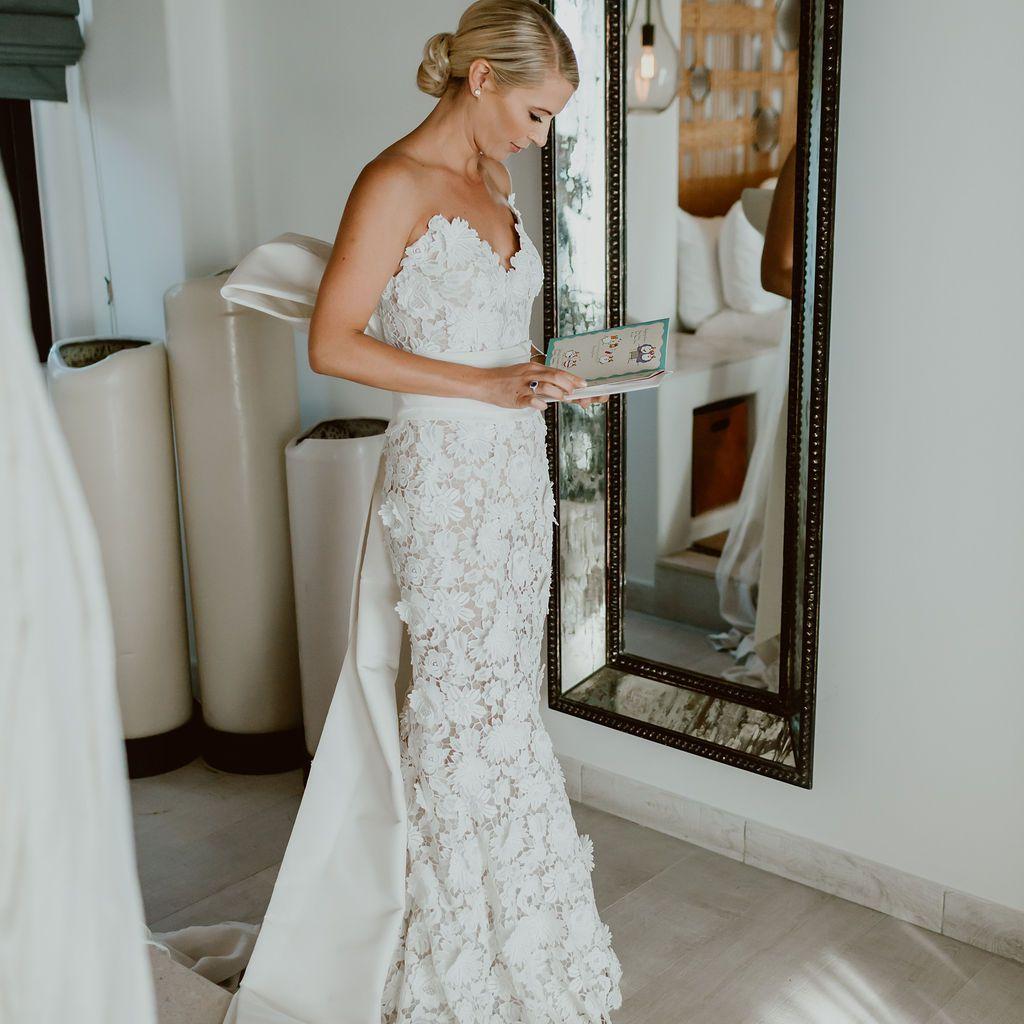 bride wearing wedding dress