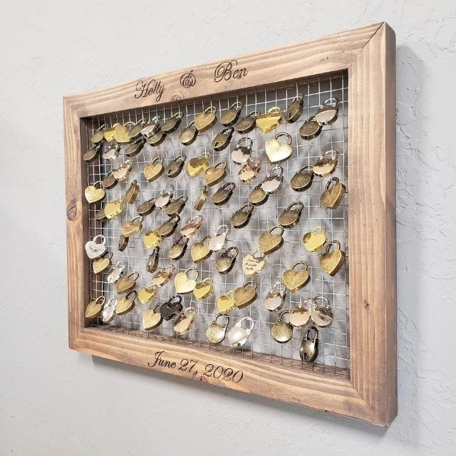 AnimasCraftWoodworks Love Lock Guestbook Display