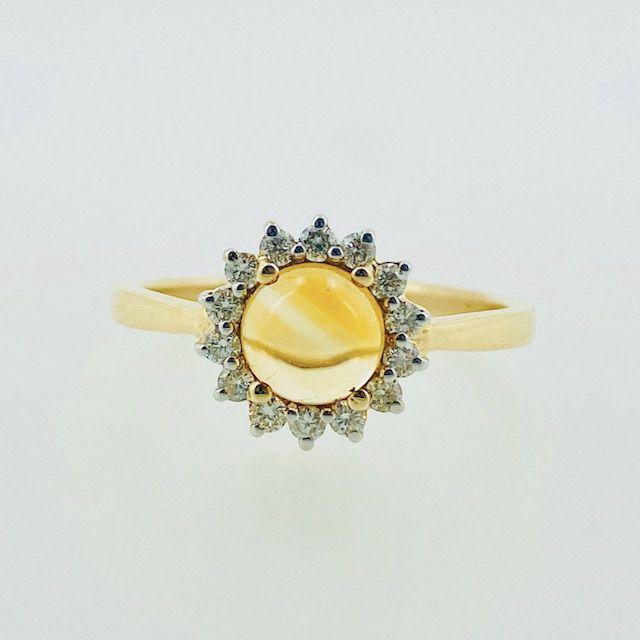 NovInternational 14k Citrine and Diamond Ring / 14k Solid Yellow Gold / November Birthstone / Minimalist Citrine Ring / Dainty Sunflower Ring / Wedding Ring