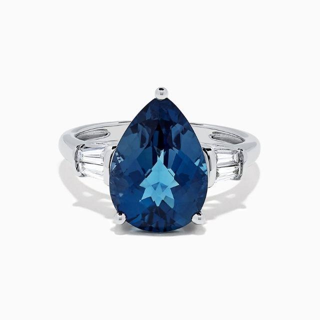 Effy Ocean Bleu 14K White Gold London Blue Topaz and Diamond Ring