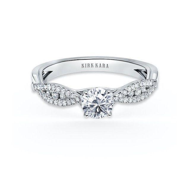 Kirk Kara Platinum Pirouetta Split Shank Engagement Ring