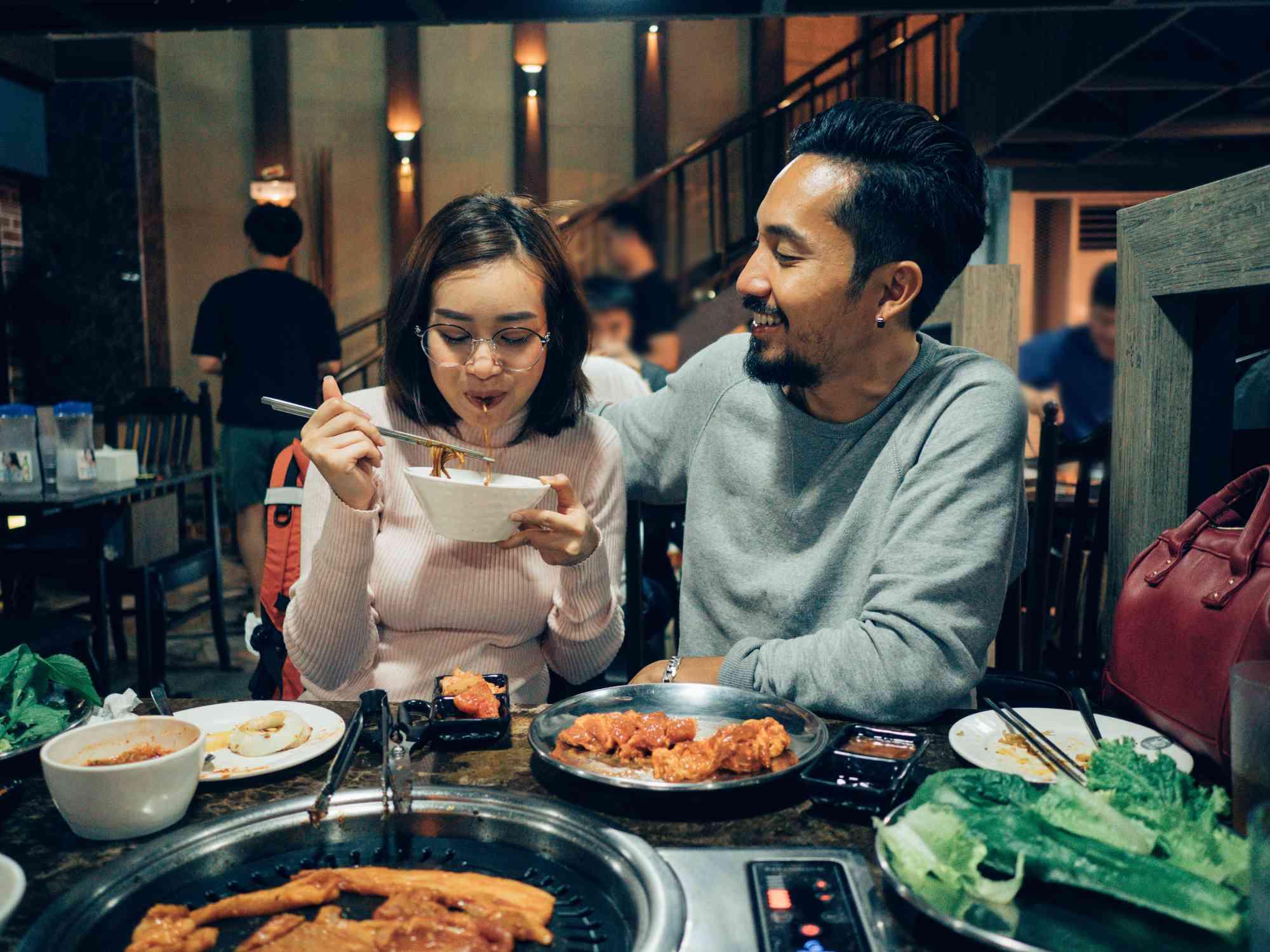 couple eating korean bbq