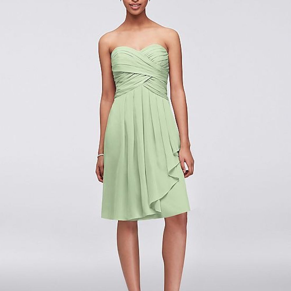David's Bridal Short Crinkle Chiffon Dress with Front Cascade