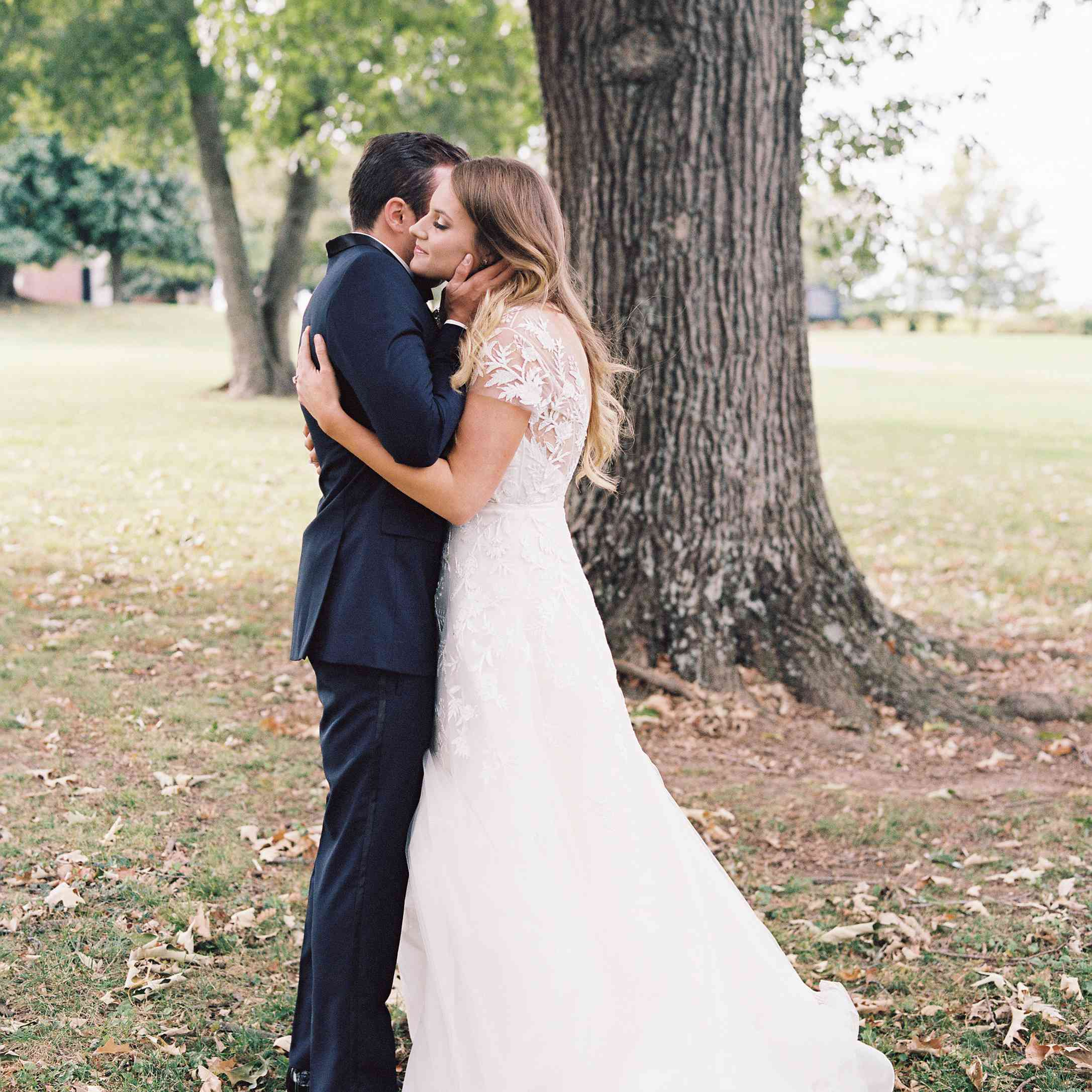 <p>Bride and groom first look</p><br><br>