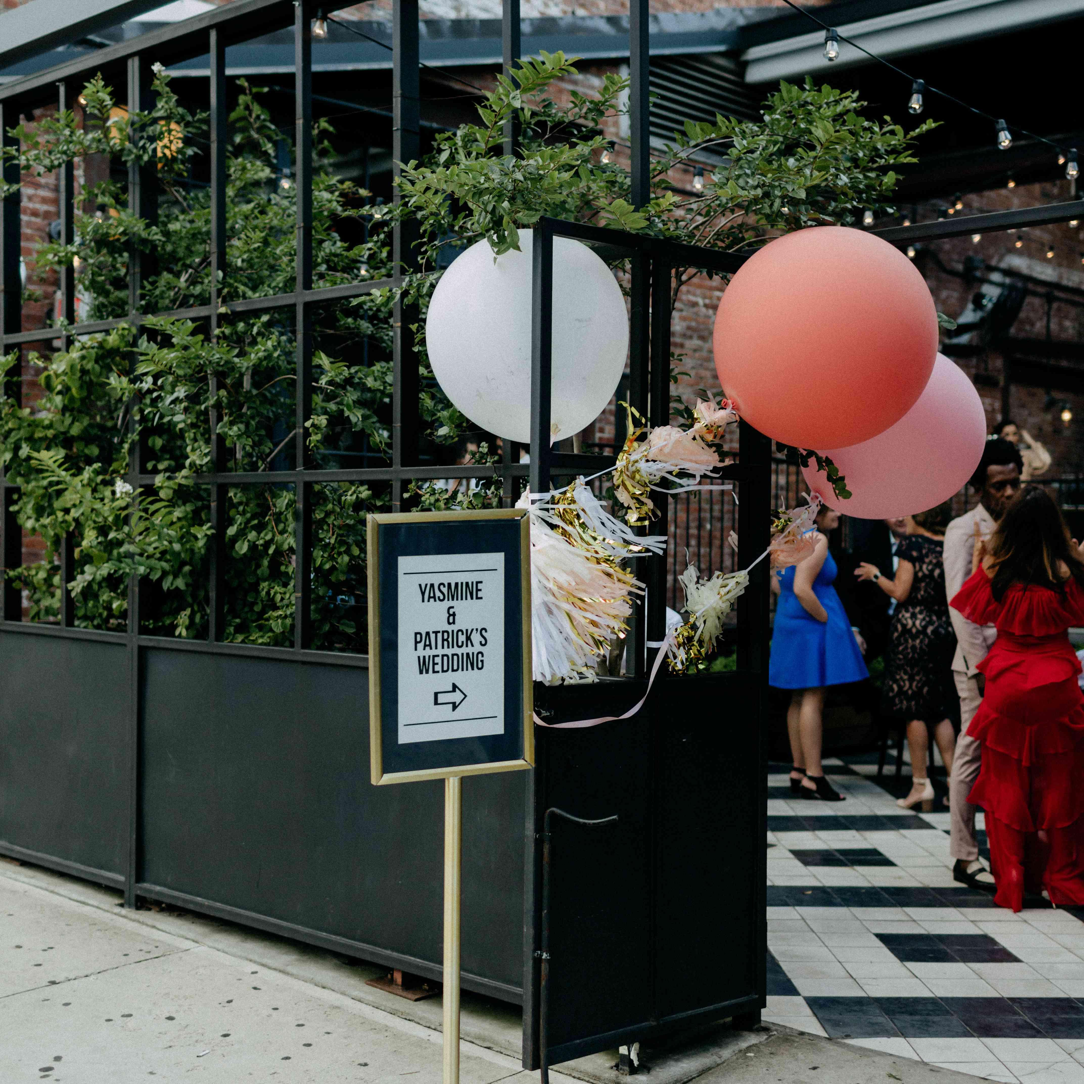 Reception at restaurant balloons