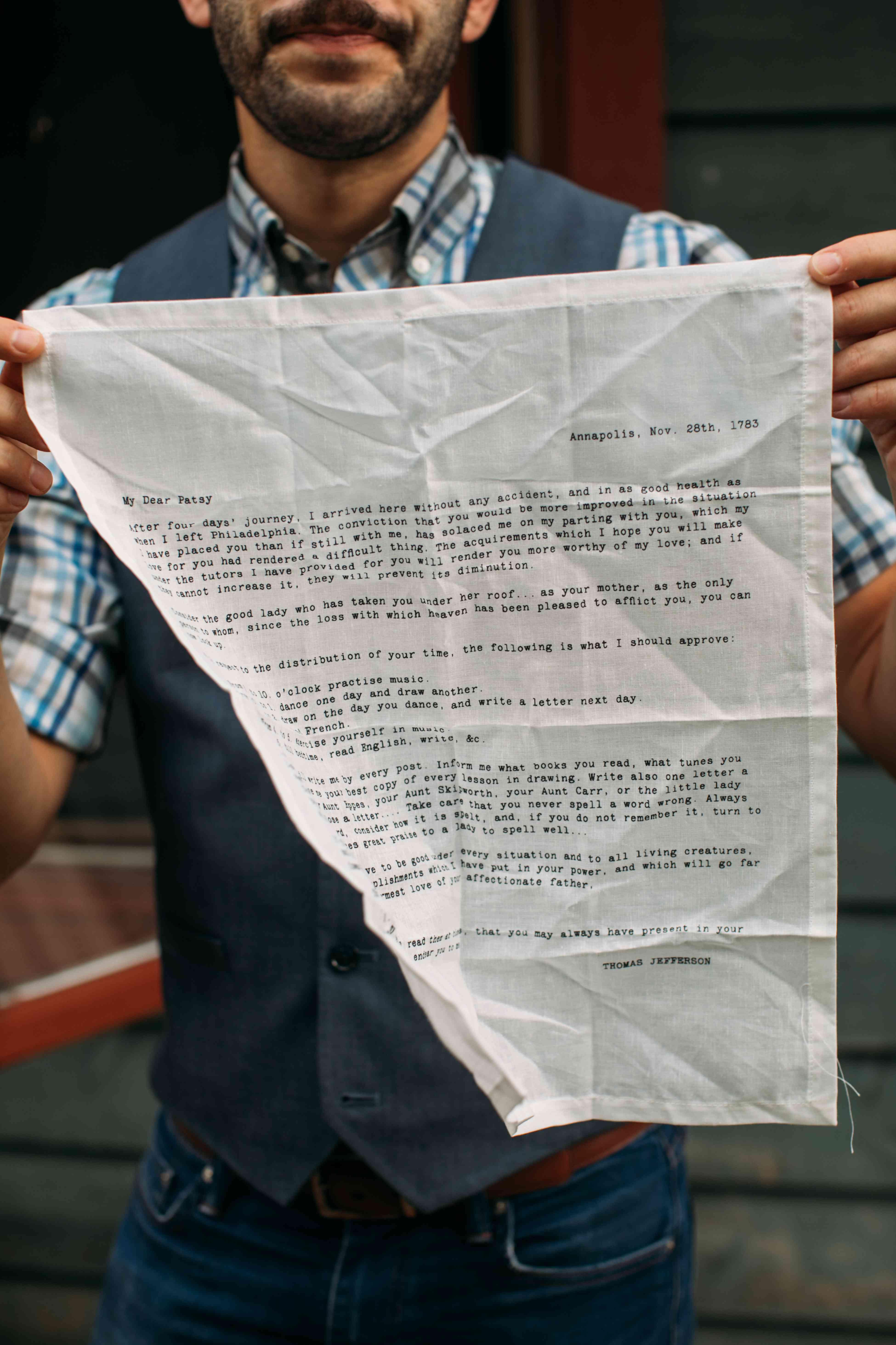 groom note on handkerchief
