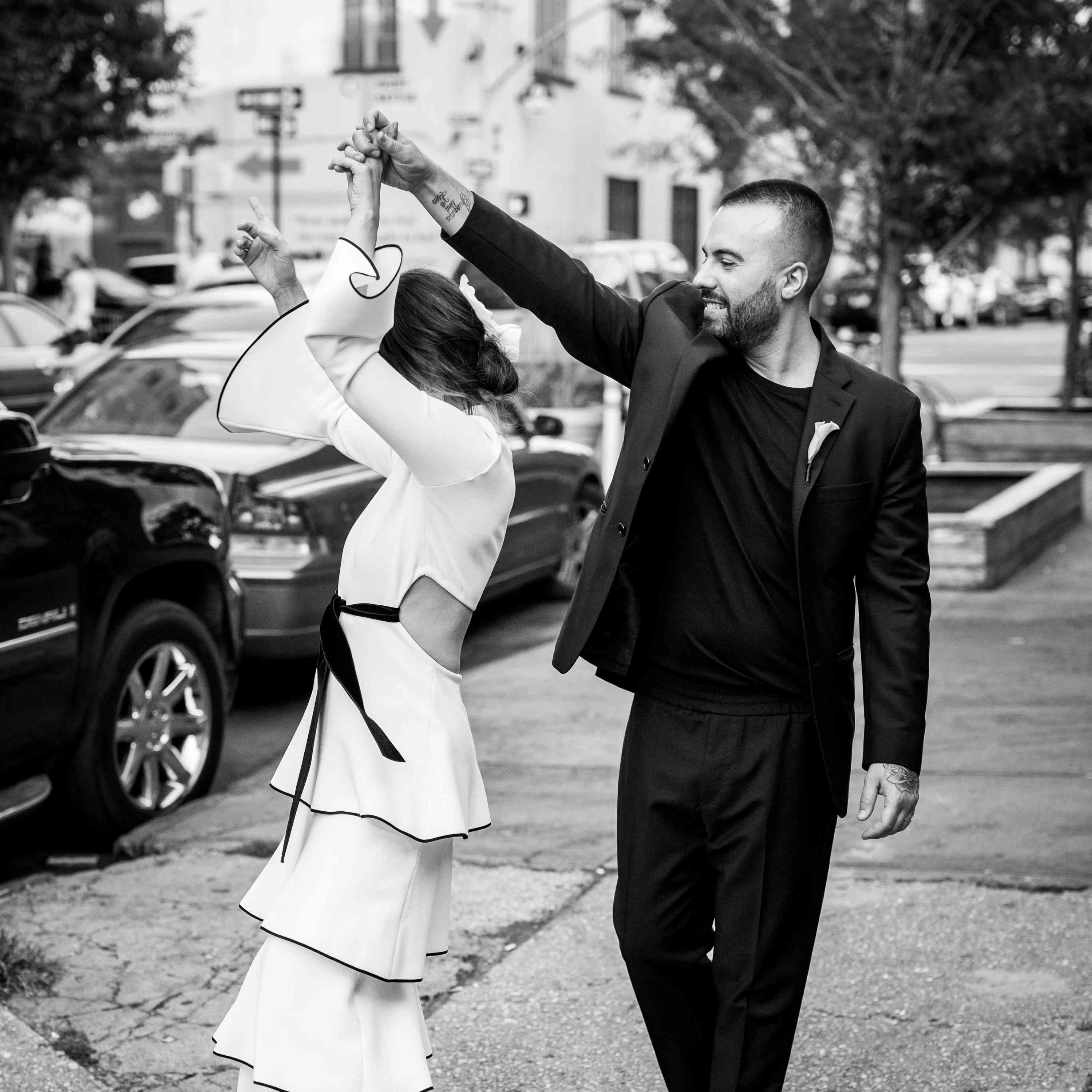 black and white couple dancing