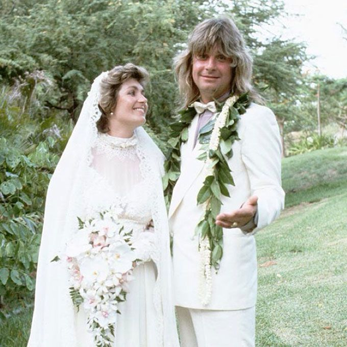 Sharon Arden marries Ozzy Osbourne in a high neck lace gown, 1982