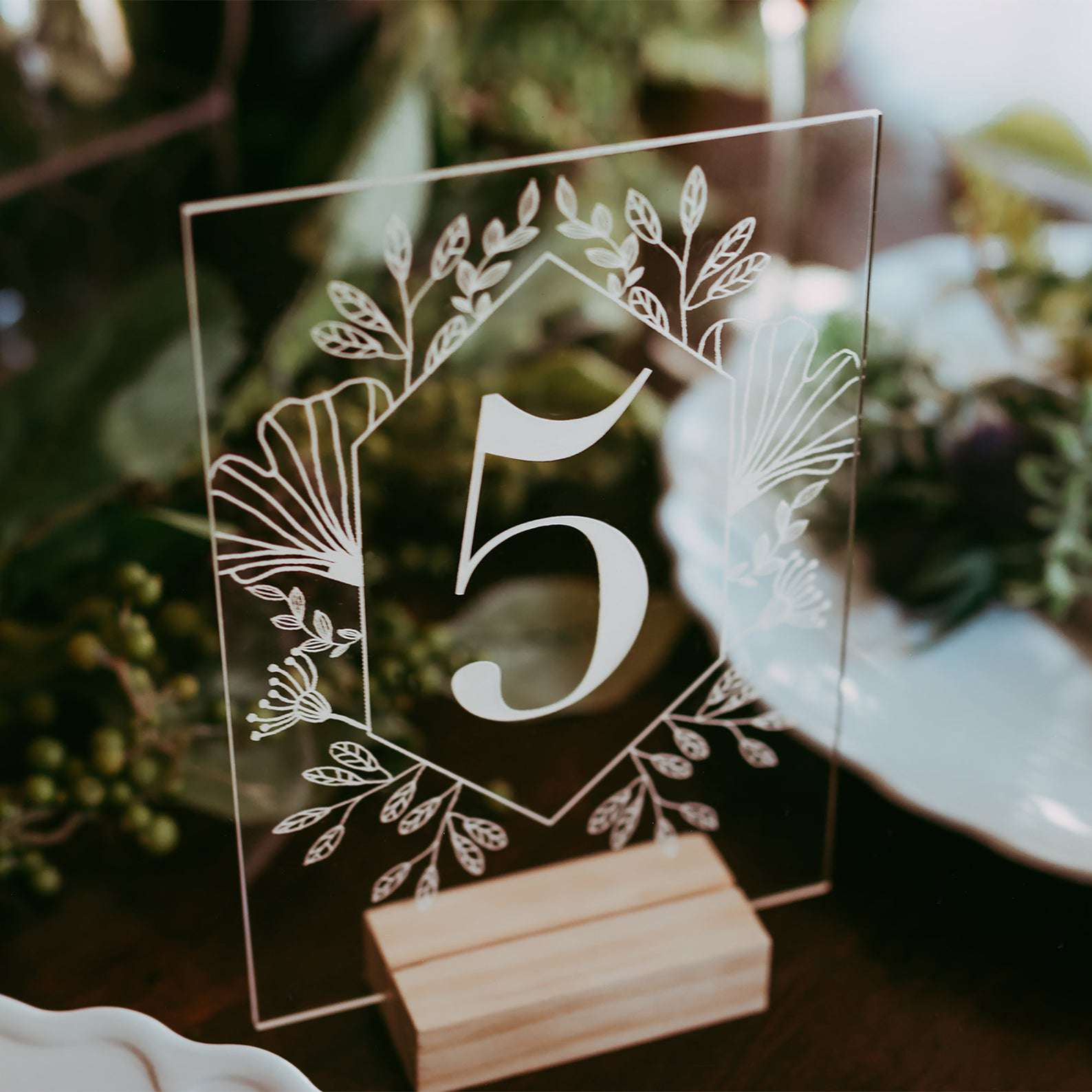 Sweet Confetti Co. Acrylic Table Numbers With Wood Stands