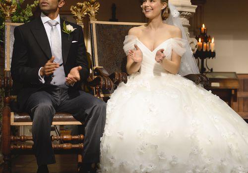 Groom and bride in wedding attire
