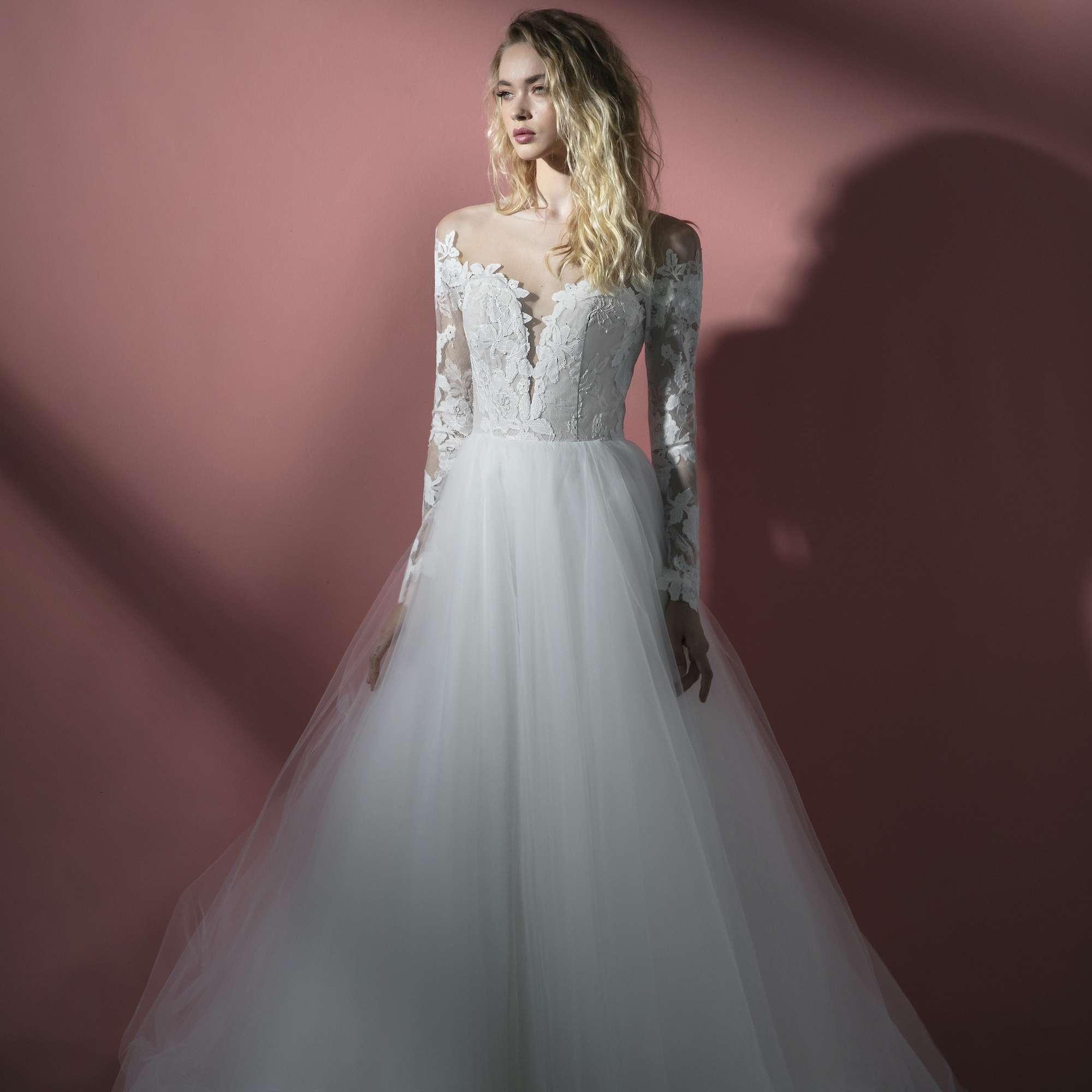 Seven long sleeve wedding dress