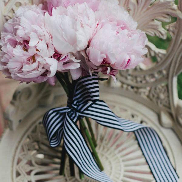 Peony bouquet with preppy ribbon