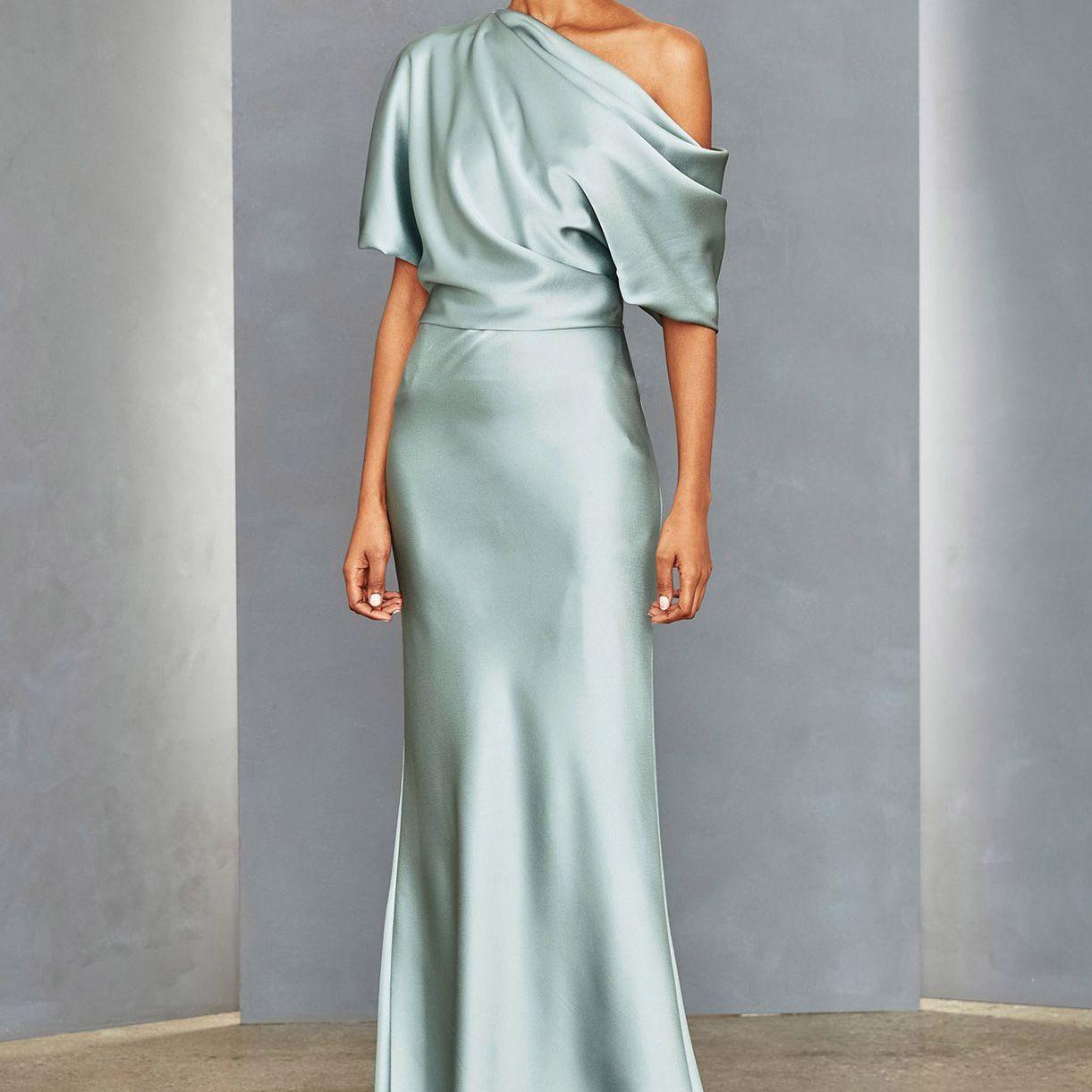 draped blue dress