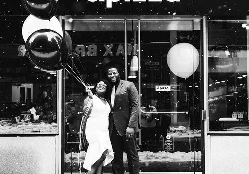 pizza shop wedding &pizza balloons snow