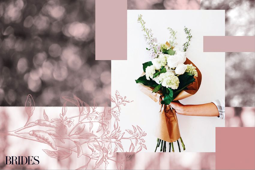 Photo composite of a bouquet of white flowers wrapped in brown paper with a pink floral background