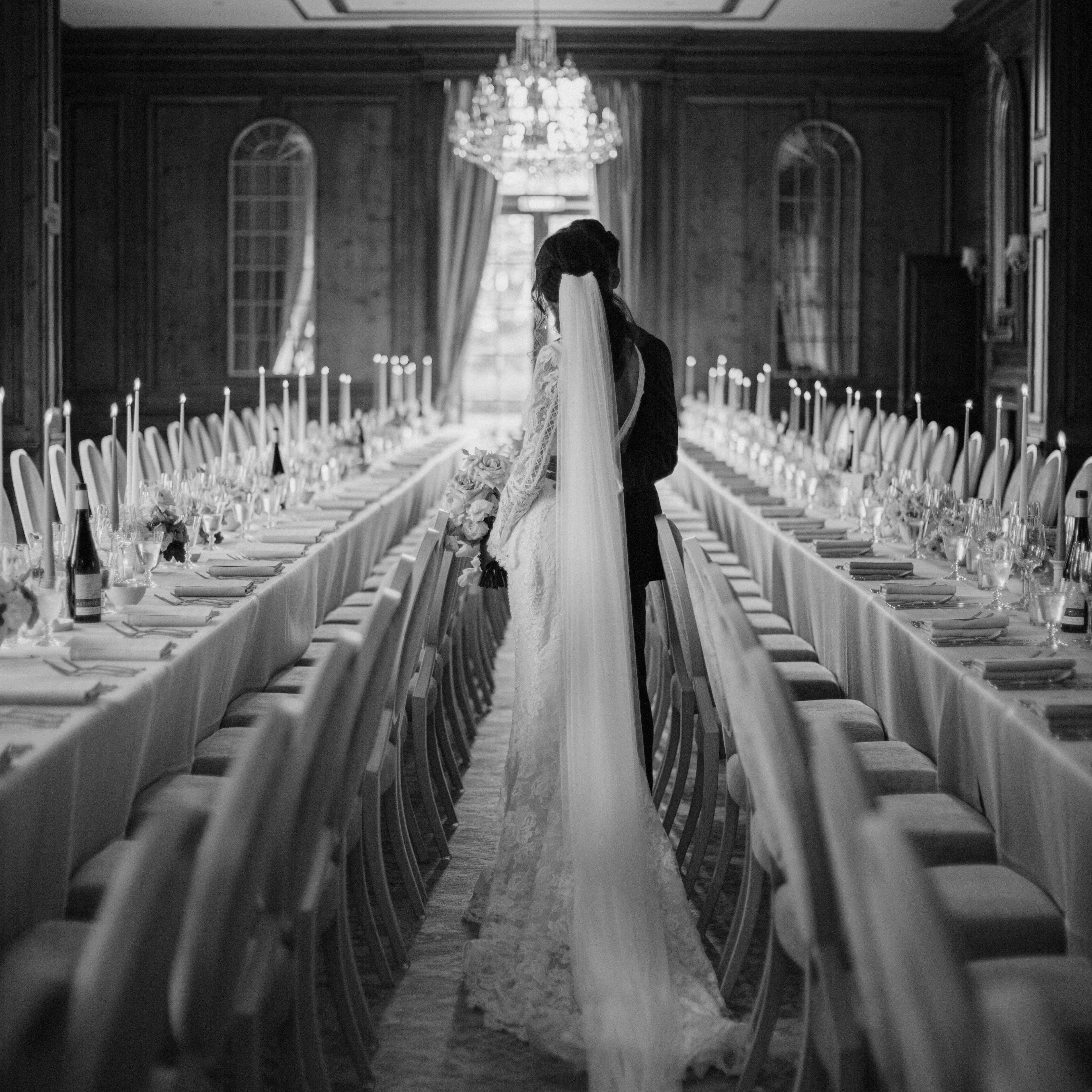 The bride at dinner tables