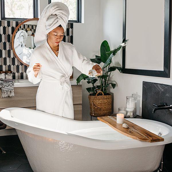 woman preparing bath
