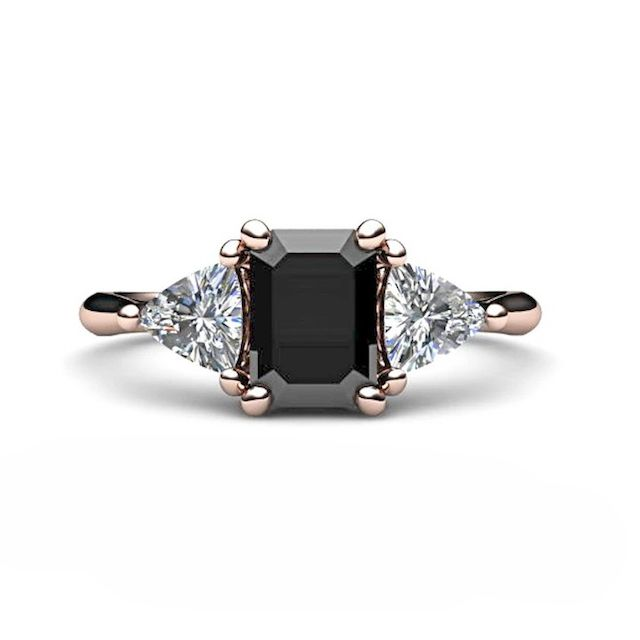 Rare Earth Jewelry Black Diamond Engagement Ring